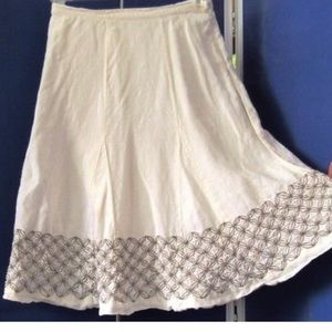 100 % LINEN CHICOS EMBROIDERED A LINE SKIRT